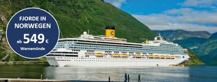 Norwegische Fjorde COSTA Fascinosa Warteliste