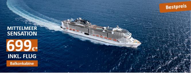 Mittelmeer mit Flaggschiff MSC GRANDIOSA